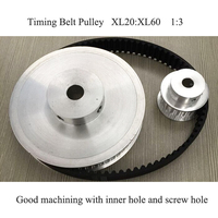 Timing Belt Pulley Kit XL20 XL60 Reduction 3 1 20teeth 60teeth Shaft Center Distance 80mm Engraving