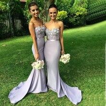 2016 Lavender Appliques Mermaid Bridesmaid Dresses Satin Floor-Length De Casamento Robe Demoiselle D'honneur Bridesmaid Dress