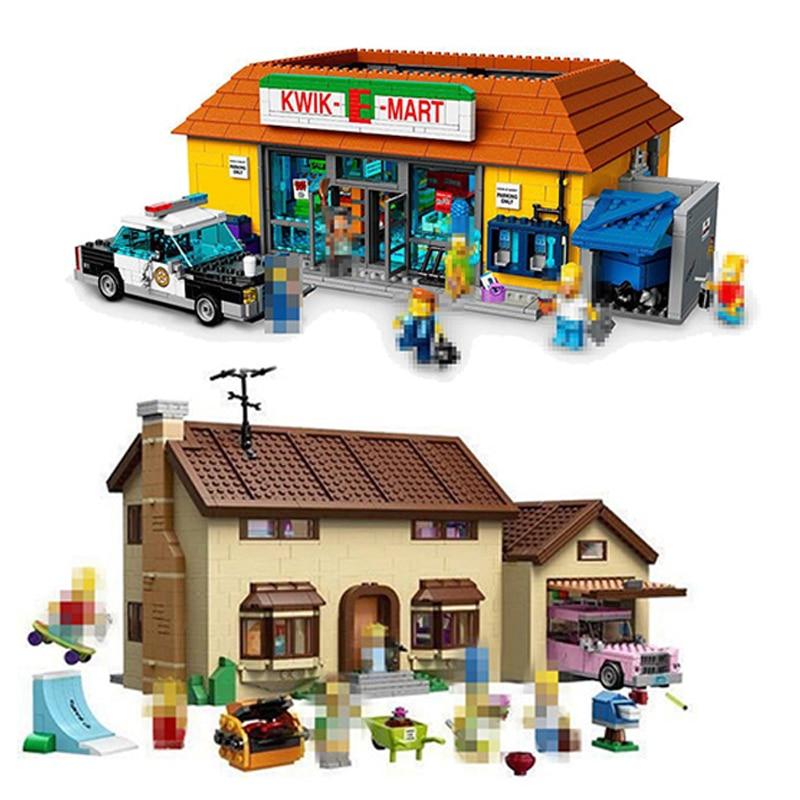 цена на Building Blocks City Street 16004 2232Pcs 16005 Simpsons Bart Homer Kwik-E-Mart For 71016 Bricks Lepin city street in blocks