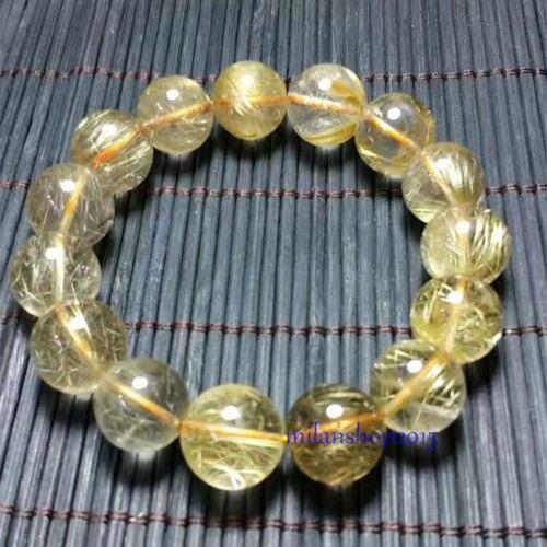 Bracelet en perles de cristal titane Quartz rutilé or naturel 12mm> bijoux livraison gratuite