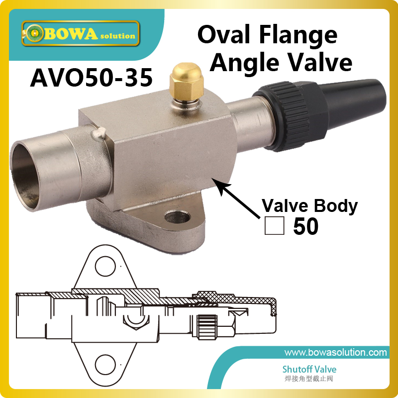 Angle shutoff valve with oval flange connection suitable for MYCOM 4K, 6K and 8K open type reciprocating compressors aluminium shutoff valve as suction valve of fk20 fk30 and fkx open type compressors for mobile refrigeration and air condtioner