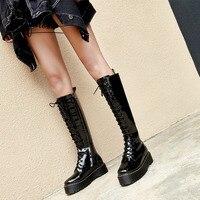 YIFSION/черные женские сапоги до колена в байкерском стиле, с круглым носком, на молнии сбоку, с перекрестной шнуровкой, женские осенне зимние с
