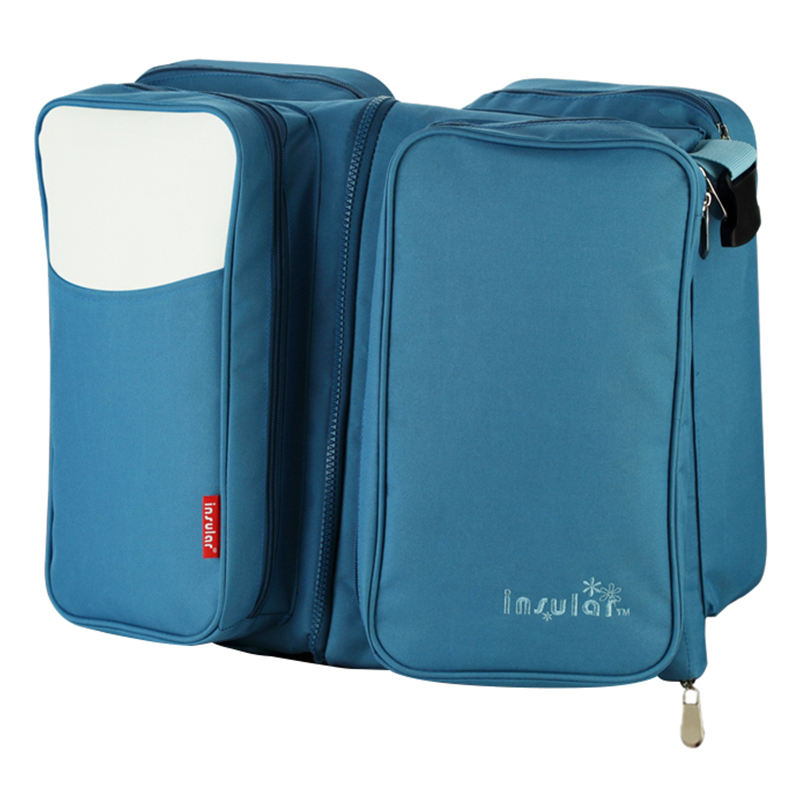 insular Multifunctional Foldable Large Maternity Diaper Bag For Travel Mummy 2 in 1 Bags For Baby Sleeping Bed Blue