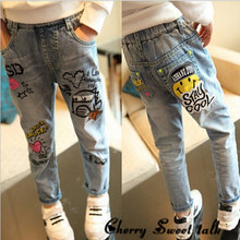 spring Graffiti Pattern Kids Jeans Fashion Baby Girl Jeans cotton High Quality Children Pants children pants Girls Jeans 3-12 Y