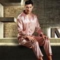 Mens De Satén de Seda Pajamas Set Pijama pijama Conjunto Primavera Ropa de Dormir Pijama Loungewear L, XL, 2XL, 3XL Más Tamaño