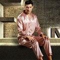 Mens Pijama de Cetim de Seda Conjunto de Pijama Conjunto Primavera Roupa Sleepsuit Pyjamas Loungewear L, XL, 2XL, 3XL Plus Size