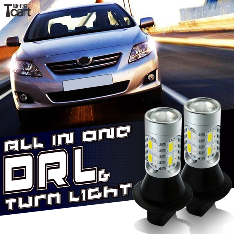 Tcart 2pcs Auto Led Bulbs Car DRL Daytime Running Light Turn Signals White+Amber Lamp WY21W T20 For Toyota Avensis T27 2009 2014