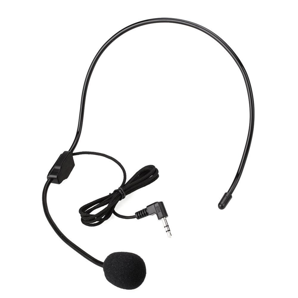 New 3.5mm Wired Headworn Microphone Metal Microfono Mikrafone For Voice Amplifier Loudspeaker Black Megaphone
