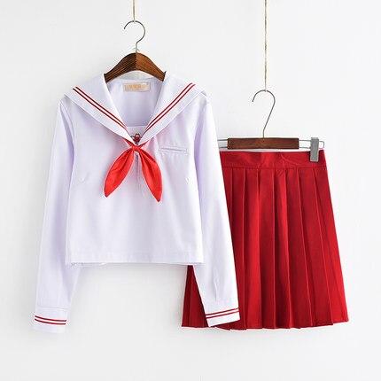 2019 New Plus Size JK Japanese School Sailor Uniform Fashion School Class White Suit Girl Student School Uniforms For Cosplay