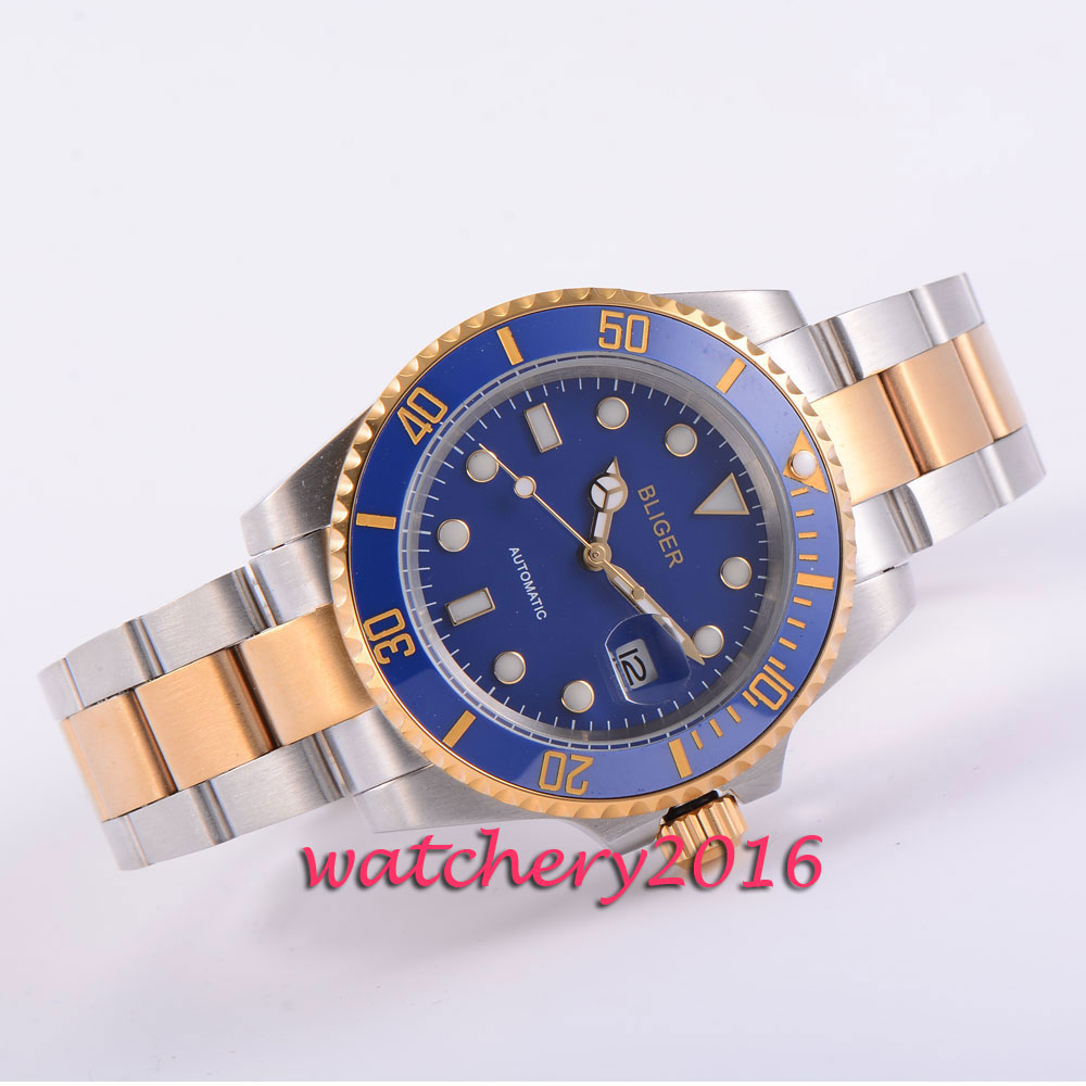 Casual 40mm BLIGER blue dial Rotating ceramic bezel deployment buckle Sapphire glass date luminous automatic movement mens Watch цена и фото