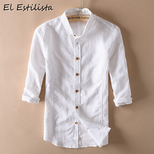 3c359a3d48 2018 Venta caliente para hombre de Color sólido Camisa de algodón Casual  Camisa de lino tres cuarto manga Slim Fit ropa de cáñam.