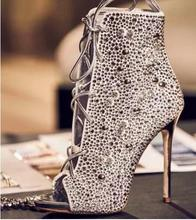 цены Ladies Ankle Boots Lace-up Crystal Embellished Open Toe Boots High Heel Cut-out Rhinestone Shoes Boots Ladies Dress Shoes