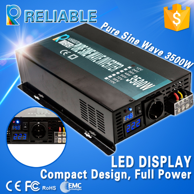 Off Grid LED Display Pure Sine Wave Solar Power Inverter 3500W DC to AC Voltage Converter Automatic Remote Controller