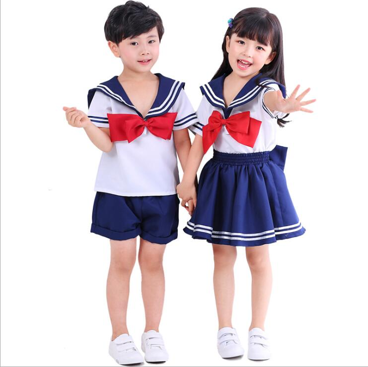 Kids Blue Cute Short Sleeves Boy Girl School Uniform Sailor Suit Halloween Cosplay Costume XS-XL