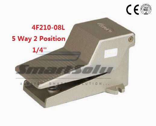 5pcs/lot Fedex Free Shipping Pneumatic 1/4 1/4 inch 5 Port 2 Position Air Foot Valve Manual Pedal Valves With Lock 4F210-08L free shipping high frequency valve vt307 5g 02 with 3 port 1 4 port electromagnetic valve pneumatic component vt series