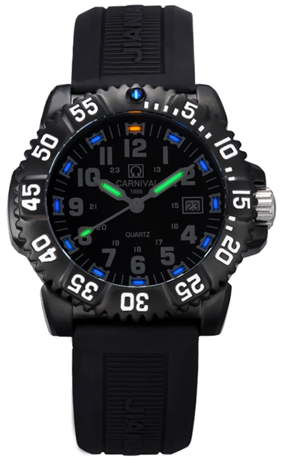 Carnival Men's Tritium luminous Watch H3 Rotatable Bezel Blue light Rubber Band Date Sport Military Quartz Waterproof Watches skone 5051 luminous pointers quartz watch men rotatable bezel wristwatch