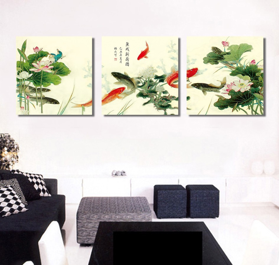 Compare prices on chinese lotus painting online shoppingbuy low traditional chinese koi fish calligraphy and lotus flower canvas wall painting 3 panel for living room dhlflorist Choice Image