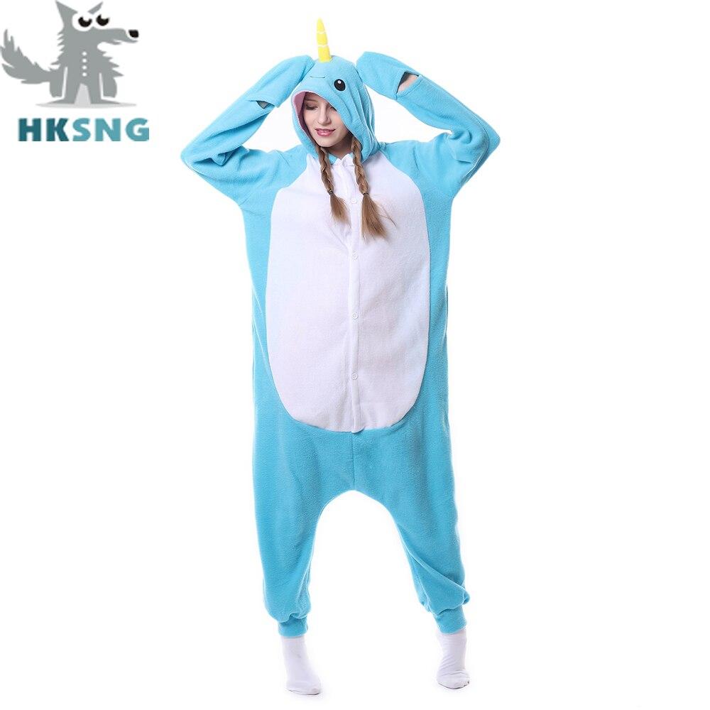 Hksng новые унисекс для взрослых животных нарвалы пижамы высокое качество  КИТ мультфильм Kigurumi Комбинезоны костюмы Комбинезоны 17751a123d70b