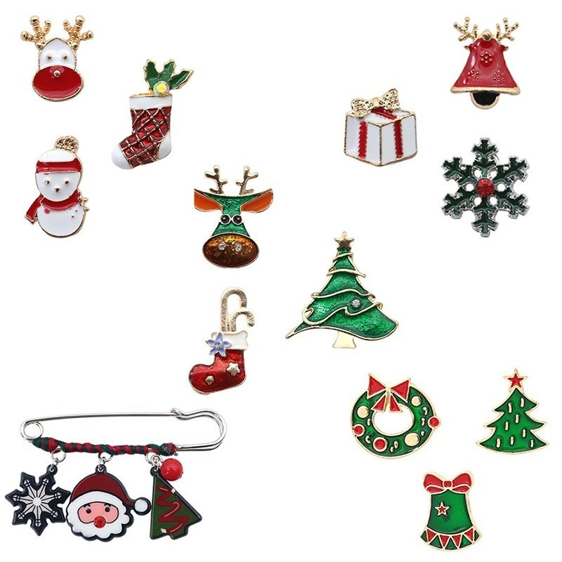 2408f6864375e US $0.98 26% OFF|Christmas Tree Wreath Stocking Bells Pins And Brooches For  Women Enamel Rhinestone Christmas Animal Pin Brooch Set Xmas Jewelry-in ...