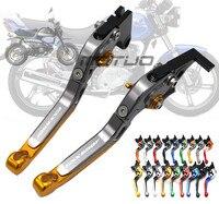 LOGO CNC Aluminum Adjustable Folding Extendable Motorcycle Accessories Brake Clutch Levers For Suzuki GSX650F GSX 650F 2008 2016