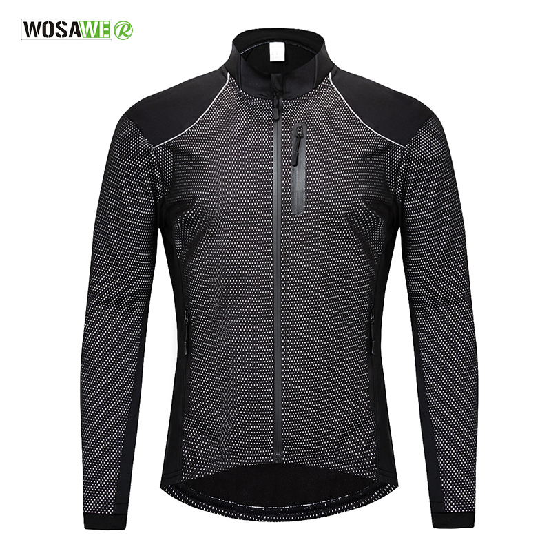 WOSAWE Men's Cycling Jacket Winter Thermal Warm UP Fleece Road MTB Bike Bicycle Clothing Sportswear Windproof Riding Coat