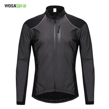 WOSAWE Mens Cycling Jacket Winter Thermal Warm UP Fleece Road MTB Bike Bicycle Clothing Sportswear Windproof Riding Coat
