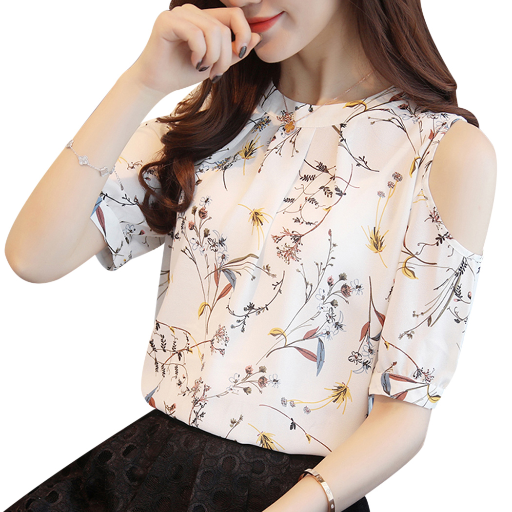 Cold Shoulder Chiffon Floral Printed   Blouse     Shirt   Women 2018 Summer Tops Elegant Plus Size Ladies Korea   Blouses   Blusas Female
