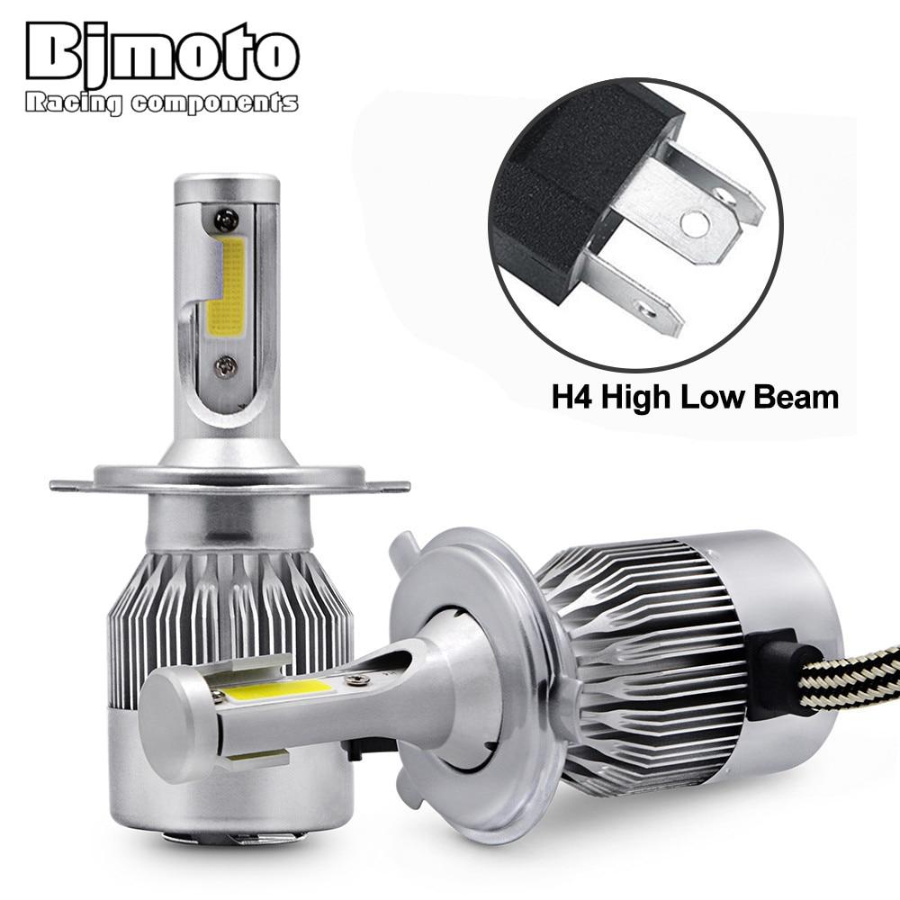 BJMOTO Pair C9 H4 Chip COB Led Beam 72W 6000K/White Replacement Daytime Running Lights DRL Fog Headlight Driving Bulb Car Light