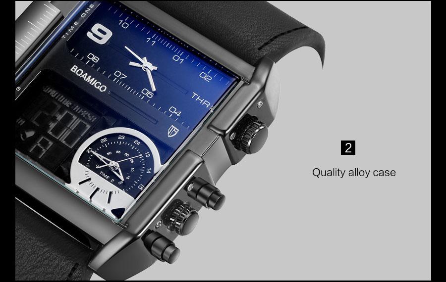 HTB1d.S9l8jTBKNjSZFuq6z0HFXac BOAMIGO brand men sports watches 3 time zone big man fashion military LED watch leather quartz wristwatches relogio masculino