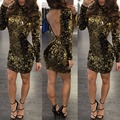 Fashion women dress 2017 new arrivals sexy party club wear Gold Sequins long sleeve turtleneck backless slim hip bandage dress
