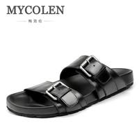 MYCOLEN/Новые летние мужские тапочки; Повседневные тапочки; Роскошные брендовые Модные мужские пляжные тапочки на плоской подошве