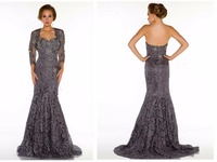 Elegant Sweetheart Mermaid Brown Lace Beaded Floor Length Sexy Fashion Mother Of The Bride Dresses Evening Gowns 2015 Jacket