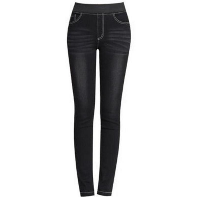 Winter Female Jeans With High Waist Denim Warm Velvet -7620