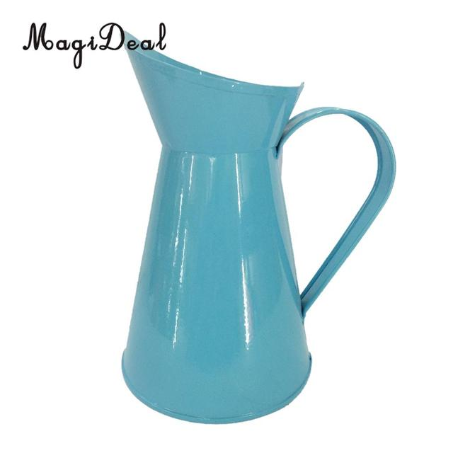 Magideal Shabby Chic Metal Jug Vase For Flower Pitcher Wedding Party