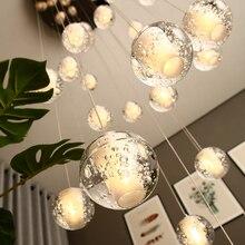 Современный хрустальный стеклянный шар светодиодный подвесной светильник светильники несколько лестничные светильники бар подвесной светильник для отеля Вилла Дуплекс квартиры