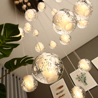Modern Crystal Glass Ball LED Pendant Lights Fixtures Multiple Staircase Lamps Bar Hanging Lamp For Hotel Villa Duplex Apartment
