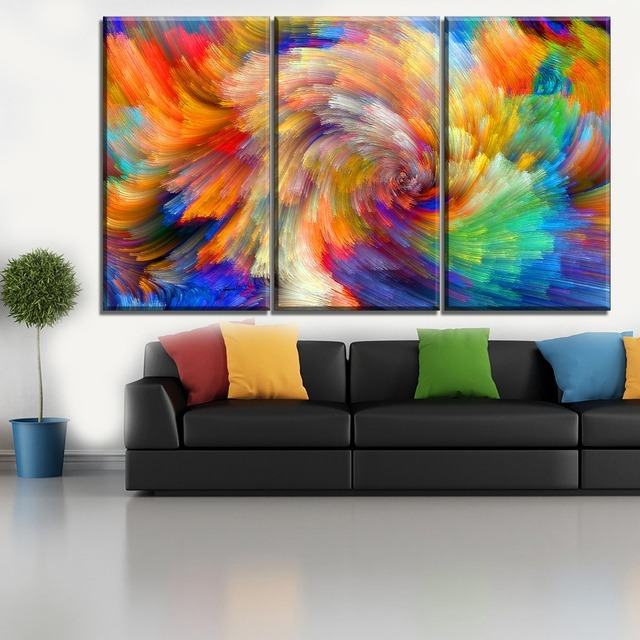 3 Piece Living Room Or Bedroom Wall Decorative Abstract Colorful Vibrant Textures Picture Modern On Canvas Printing Type Poster