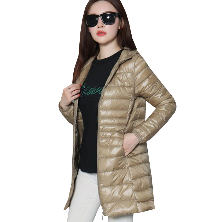 Image 5 - Women Ultra Light Down Jacket Autumn Winter Warm White Duck Down Parkas Long Hooded Thin Lightweight Coat Plus Size S~6XL AB497-in Down Coats from Women's Clothing