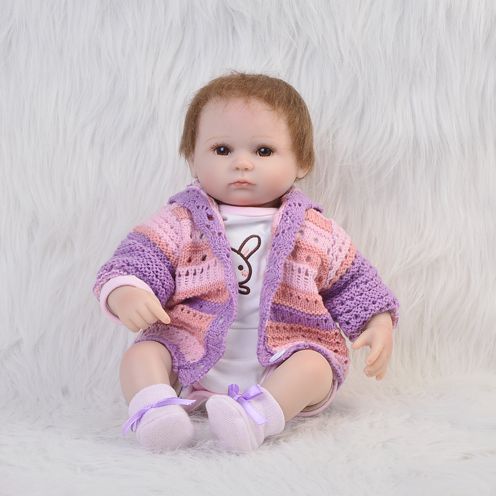 High -End 17 Inch Realistic Baby Girl Reborn Soft Silicone Princess Babies Lifelike Doll Can Sit And Lie Kids Birthday Xmas Gift sd bjd plastic lifelike princess girl doll dressing exercise doll for kids high end christmas new year gift boutique collection