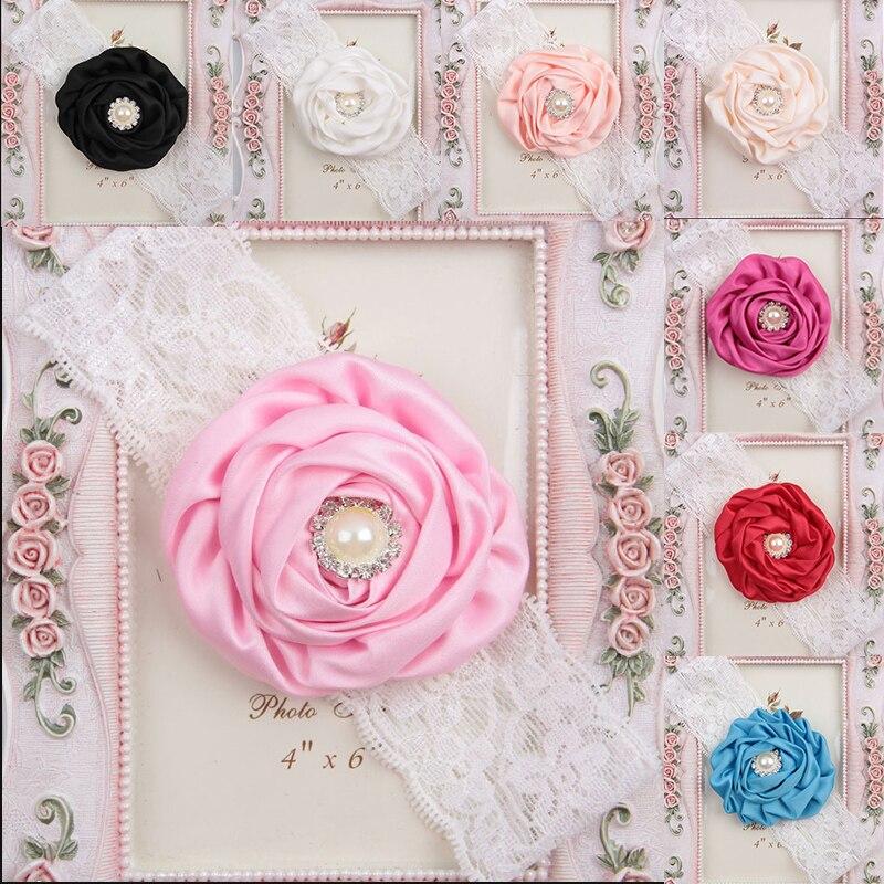 1 StÜck Heißer Nette Mehrfarbige Baby Mädchen Kopf Band Spitze Perle Blume Set Drill Prinzessin Stirnband Zubehör Auf Der Ganzen Welt Verteilt Werden