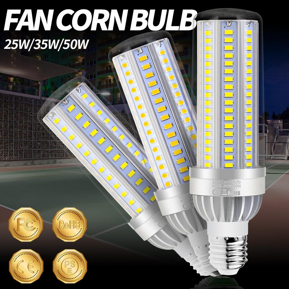 E26 Led Lamp 220v Corn Light Bulbs 5730smd Bombilla Led E27 High Power Led Bulb 25w 35w 50w Fan Cooling Lamp Comercial Lighting