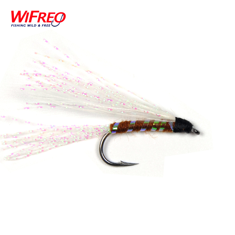 10PCS Wifreo 7# White Rainbow Crystal Flash Fly free Box