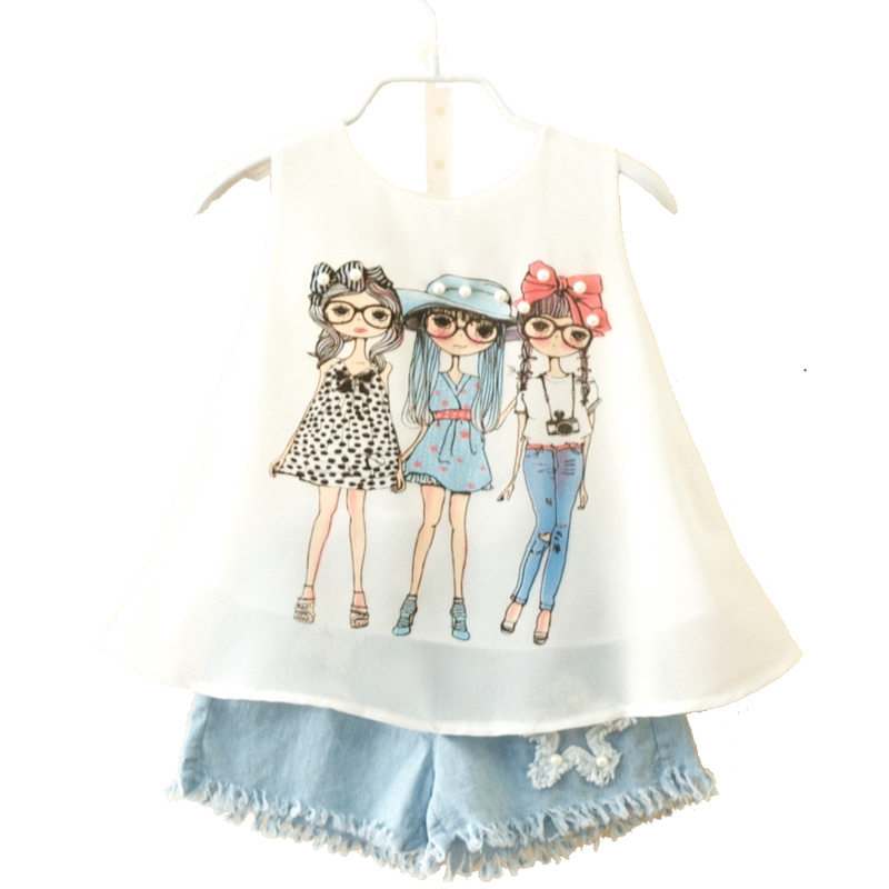 Summer brand suit for child girls fashion baby chiffon vest shorts set girl clothes pullover toddler 3 8 10 years kids clothing baby girl clothes set fashion blue jean shirt cotton white lace shorts 2pcs girls clothes kid summer suit set