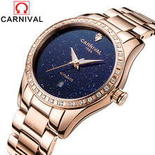 CARNIVAL Ladies Automatic Mechanical Watches Women Luxury Diamond Hollow Date Watches Rose gold Dress Clock Relogio Feminino