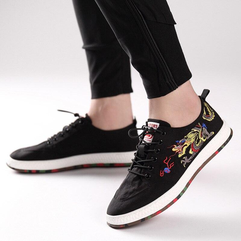 Explosões Sapatos Tênis Quente Da Ocasional Calçados Bordados Homens Tendência Belos Esportivos Moda Respirável black Lona Dos Red De wwSr8p