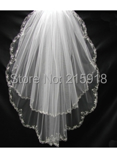 Handmade exquisite beading edge 2 layers bridal veils White short bridal veil wedding dress veil 2016