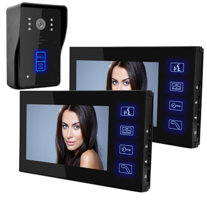 Güvenlik ve Koruma'ten Video Interkom'de 7 inç 1v2 Dokunmatik Tuş Takımı KIMLIK Kartı Erişim Kontrolü Kablolu Interkom Görüntülü Kapı Telefonu title=