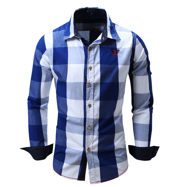 446a770c64 Camisa Xadrez Moda masculina 2017 dos homens Novos Camisa de Manga Longa  Estilo Business Casual 100