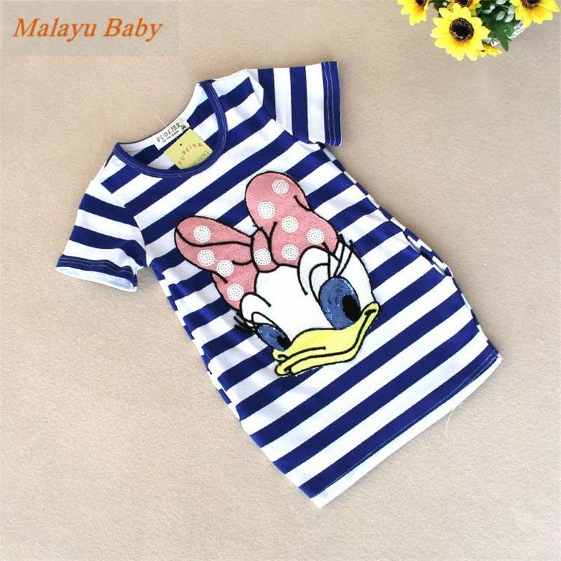 Malayu Baby 2018 latest summer girls striped dress children cartoon Donald Duck, the two sides in my pocket dress 2-6 years A122