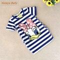 Malayu Bebê 2016 mais recente verão meninas vestido listrado crianças dos desenhos animados do Pato Donald, os dois lados em meu bolso vestido 2-7 anos A122